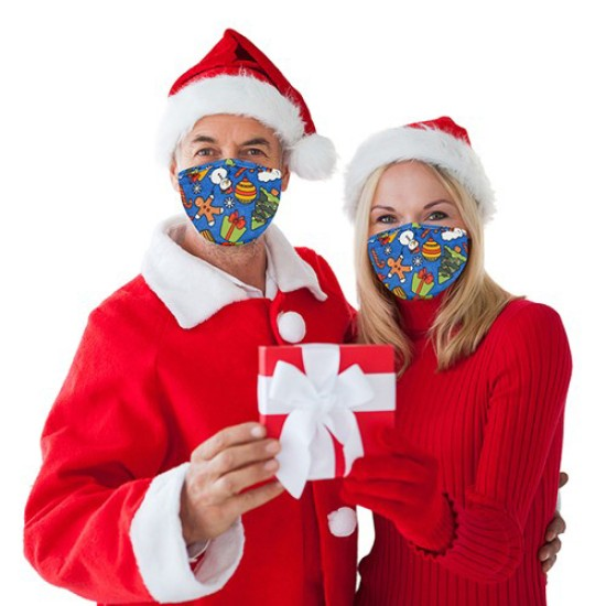 Protective 3 Layer Fabric Mask - Christmas Trees